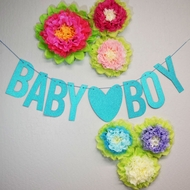 Baby ♥ Boy Baby Shower Glitter Paper Garland Banner (4-9 FT)