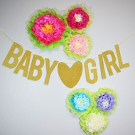 Baby ♥ Girl Baby Shower Glitter Paper Garland Banner (4-9 FT)