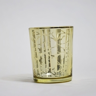 Birch Forest Votive Tea Light Glass Candle Holder - Gold (2.5 Inches) (6 PACK)