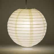 "12"" Beige / Ivory Round Paper Lantern, Even Ribbing, Hanging Decoration"