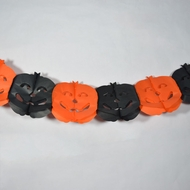 Black and Orange Pumpkin Halloween Garland Banner (9FT)