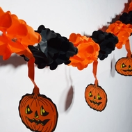 Black and Orange Small Pumpkin Halloween Garland Banner (10FT)