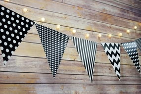 Black Mix Pattern Triangle Flag Pennant Banner Decoration (11FT)