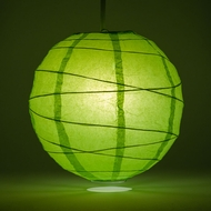 "8"" Grass Greenery Round Paper Lantern, Crisscross Ribbing, Hanging Decoration"