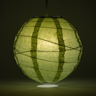 "8"" Sea Green Round Paper Lantern, Crisscross Ribbing, Hanging Decoration"