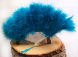 "11"" Turquoise Marabou Feather Hand Fan for Weddings"