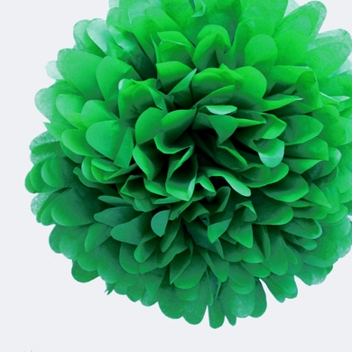 "EZ-Fluff 12"" Dark Green Tissue Paper Pom Poms Flowers Balls, Decorations (4 PACK)"