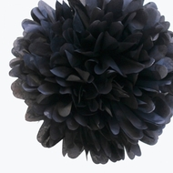 "EZ-Fluff 12"" Black Tissue Paper Pom Poms Flowers Balls, Decorations (4 PACK)"
