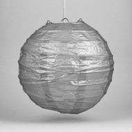 "8"" Silver Round Paper Lantern, Crisscross Ribbing, Hanging Decoration"