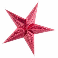 "24"" Red Prismatic Paper Star Lantern, Hanging Decoration"