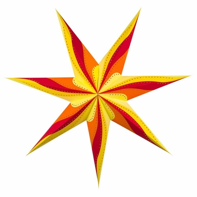 "BLOWOUT 38"" Large Orange Yellow Red Pinwheel Paper Star Lantern, Hanging Decoration"