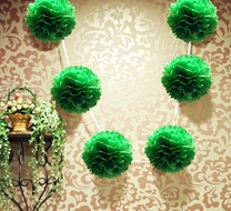 "EZ-Fluff 6"" Dark Green Hanging Tissue Paper Flower Pom Pom, Party Garland Decoration"