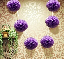 "EZ-Fluff 6"" Dark Purple Hanging Tissue Paper Flower Pom Pom, Party Garland Decoration"