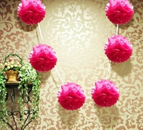 "EZ-Fluff 6"" Fuchsia Hanging Tissue Paper Flower Pom Pom, Party Garland Decoration"