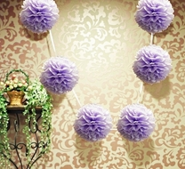 "6"" Lavender Hanging Tissue Paper Flower Pom Pom, Party Garland Decoration"