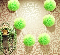 "EZ-Fluff 6"" Light Lime Green Hanging Tissue Paper Flower Pom Pom, Party Garland Decoration"
