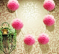 "EZ-Fluff 6"" Pink Passion Hanging Tissue Paper Flower Pom Pom, Party Garland Decoration"