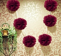 "EZ-Fluff 6"" Plum Hanging Tissue Paper Flower Pom Pom, Party Garland Decoration"