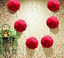 "EZ-Fluff 6"" Red Hanging Tissue Paper Flower Pom Pom, Party Garland Decoration"