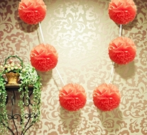 "EZ-Fluff 6"" Roseate Hanging Tissue Paper Flower Pom Pom, Party Garland Decoration"
