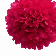 "EZ-Fluff 8"" Red Tissue Paper Pom Pom Flowers, Hanging Decorations (4 PACK)"