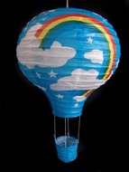 Turquoise Rainbow Hot Air Balloon Paper Lantern