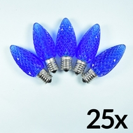 Replacement Blue 5 LED C9 Faceted Christmas Light Bulbs, E17 Base (25 PACK)