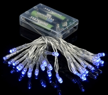 30 LED Blue Mini String Lights, 10.8 FT Clear Cord, Battery Operated