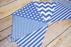Blue Mix Pattern Triangle Flag Pennant Banner Decoration (11FT)