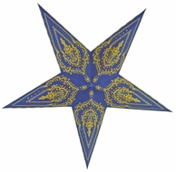 "24"" Blue on Yellow Mehandi Paper Star Lantern, Hanging (Light Not Included)"