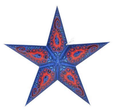 "24"" Blue Paisley Paper Star Lantern, Hanging Decoration"