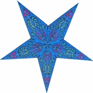 "24"" Blue Peacock Paper Star Lantern, Hanging Decoration"