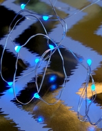 20 Blue LED Micro Fairy String Lights, Wire (6ft, Battery Operated)