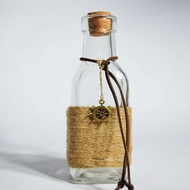 BLOWOUT Boho Chic Crafted Glass Message Bottle w/ Cork, Burlap (Wheel Love Sea Style 2)