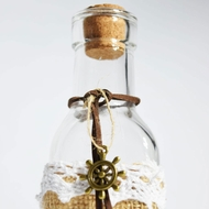 Boho Crafted Glass Message Bottle w/ Cork, Burlap (Nautical Wheel Sea Style 4)