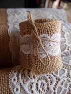 Burlap and Lace Style No.4 Fabric Wrap Roll (2.4 x 6 Ft)