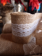 Burlap and Lace Style No.6 Fabric Wrap Roll (2.4 x 6 Ft)