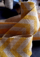 BLOWOUT Burlap Fabric Wrap Roll w/ Yellow Chevron Pattern (2.4 x 6 Ft)