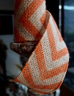 BLOWOUT Burlap Fabric Wrap Roll w/ Orange Chevron Pattern (2.4 x 6 Ft)