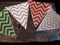 BLOWOUT Festive Holiday Burlap w/ Multi-Color Chevron Triangle Flag Pennant Banner (12 Ft)