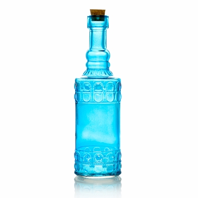 Calista Turquoise Vintage Glass Bottle Glassware Flower Vase