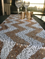 Chevron Sequin Table Runner - Champagne & White (12 x 108)