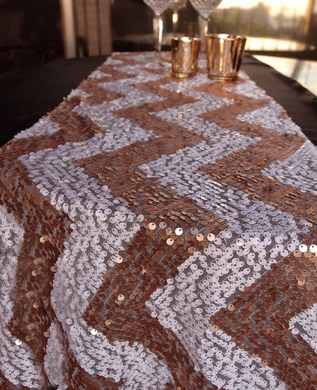 Chevron Sequin Table Runner - Copper Pink & White (12 x 108)