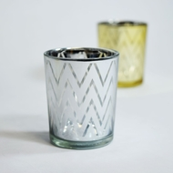 Chevron Votive Tea Light Glass Candle Holder - Silver (2.5 Inches) (6 PACK) (Discontinued)