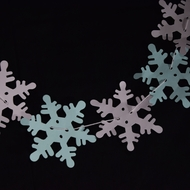 Christmas Holiday White and Blue Snowflake Garland Banner (10FT)
