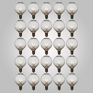 Clear 5-Watt Incandescent G40 Globe Light Bulbs, E12 Base (25 PACK)