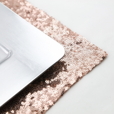 Copper Rose Gold Sequin Rectangular Table Placemat (12 x 17 Inches)