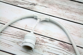 (Cord Only) 10 Suspended Socket SJTW Outdoor Commercial DIY String Light 21 FT White Cord w/ E26 Medium Base, Weatherproof