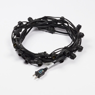 (Cord Only) 25 Socket Outdoor Commercial DIY String Light 29 FT Black Cord w/ E12 C7 Base, Weatherproof