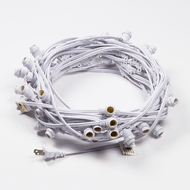 (Cord Only) 50 Socket Outdoor Commercial DIY String Light 54 FT White Cord w/ E12 C7 Base, Weatherproof